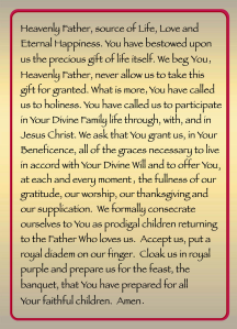 Digitized version of the Consecration (Seal) Prayer to the Father