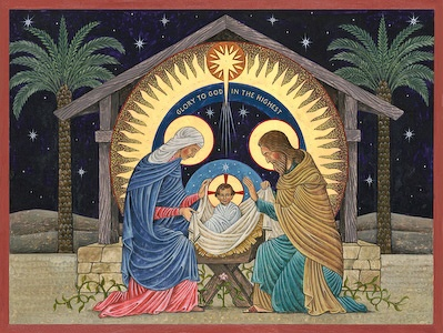Beuronese Nativity, a Beuronese-style icon by Nicholas Markell