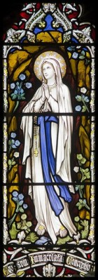 Our Lady of Lourdes Stained Glass Window in Llandudno Catholic Church